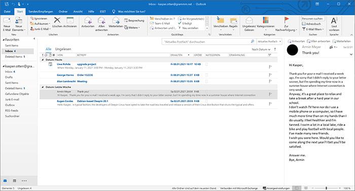 grammm E-Mail screenshot